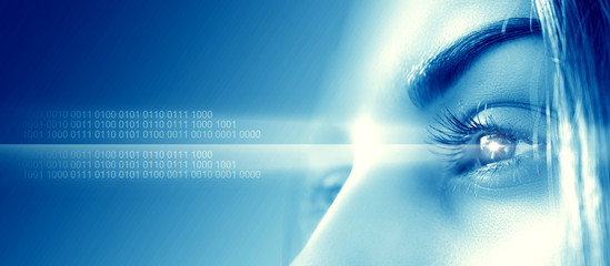 Biometric scan of a close-up of the female eye. The concept of modern virtual reality