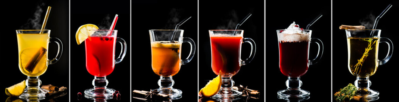 set collection of hot cocktails on a dark background