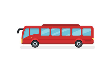 Flat vector icon of red city bus. Motor vehicle for passengers. Urban public transport
