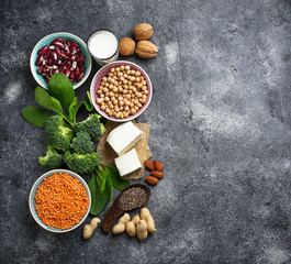 Lentils, chickpea, nuts, beans, spinach, tofu, broccoli and  chi