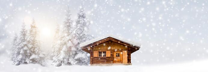 Wall Mural - Schihütte im Schnee
