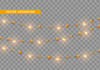 Christmas decorations, isolated on transparent background. Gold light garlands with stars realistic set. Golden Xmas decor. Festive design element