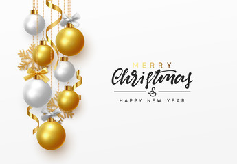 Merry Christmas and Happy New Year. Background hanging gold and white balls with ribbon and bow. Xmas greeting card with decorative bauble