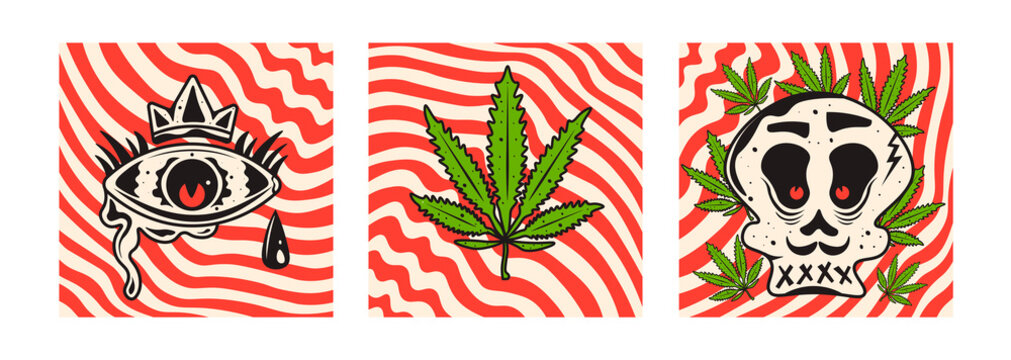 Cannabis leaf, eye and skull. Abstract line stripe vector background.