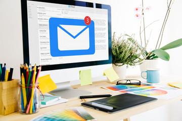 Graphic design studio receiving mail