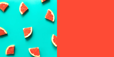 Top view of colorful orange fruit on pastel background.concepts ideas of fruit,vegetable.healthy eating