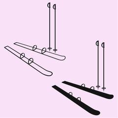 mountain ski and sticks silhouette