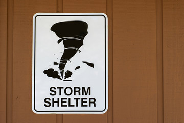 Storm Shelter Sign With Copy Space To The Right