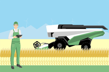 Etiqueta Engomada - Farmer controls an autonomous combine harvester. Internet of things in agriculture