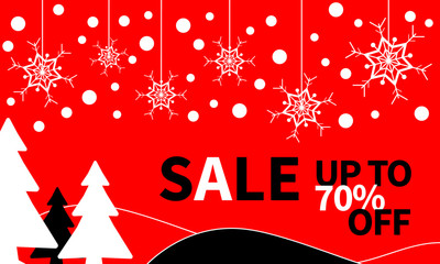 Sale banner with snowflake christmas background