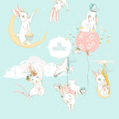 Cute hand drawn baby bunny set with floral wreath, tied bow, pigeon, butterflies, balloons and clouds