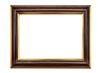 Vintage wooden photo frame on an isolated white background.