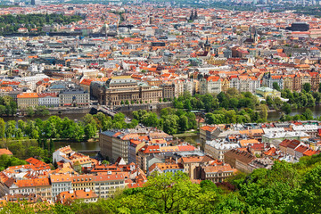 Aerial view to the beautiful historic center of Prague and Vltava river