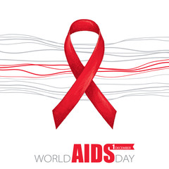 Vector poster with red ribbon and grey lines isolated on white background. AIDS Awareness symbol in sketch style. Placard design for world AIDS day 1 December with ribbon and text.