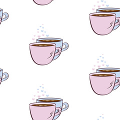 Vector seamless pattern with pink and blue cup of coffee and hearts. Creative background for cafe menu, wrapping paper, design banner, invitation. Can be used as print on clothes.