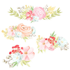 Beautiful and delicate pink and blue flowers, floral bouquets, wreaths isolated on white background