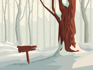 Horizontal illustration of cartoon snowy forest with wooden signpost.