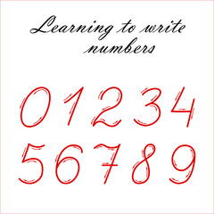 Learning to write numbers vector illustration. Elementary school concept