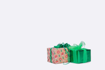 Christmas gift boxes on white background. Xmas. family holiday concept. Merry Christmas and Happy Holidays.