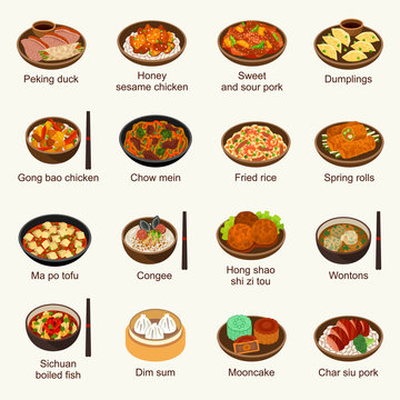 Chinese food vector illustration set
