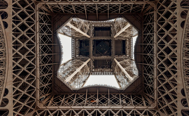 Graphic image of the Eiffel Tower seen from below, Paris, France