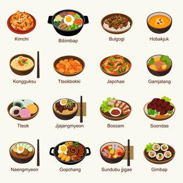 Korean food vector illustration set