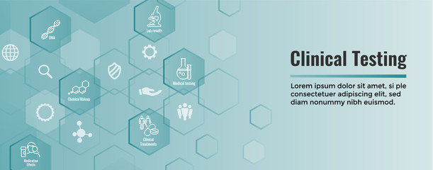 Medical Healthcare Icons w People Charting Disease or Scientific Discovery - Web Header Banner