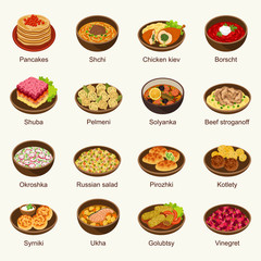 Russian food vector illustration set