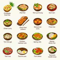 Thai food vector illustration set