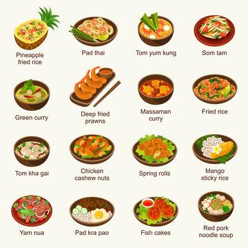 Thai food vector illustration set