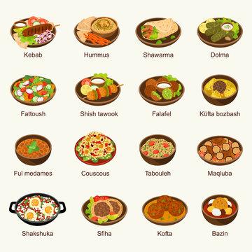 Arabic food vector illustration set