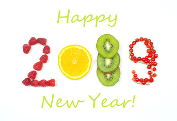 happy new year 2019 of fruit and berries on the white background.