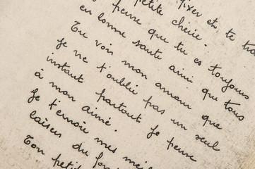 Handwritten french text Digital paper texture background