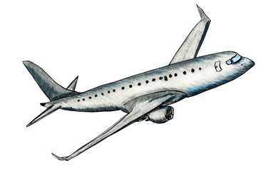 Hand drawn illustration of airplane in flight in color pencils style isolated on a white background
