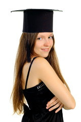 Beautiful girl in hat of the master