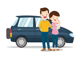 Happy cute family with a car on a white background