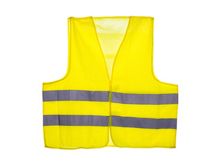 Yellow safety vest, isolated on a white background with a clipping path.