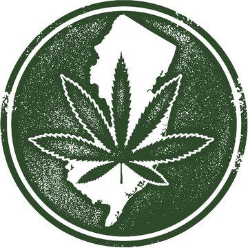 New Jersey State Marijuana Cannabis Rubber Stamp