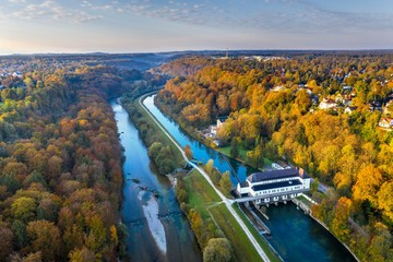 Pullach hydroelectric power plant power station, Isar and Isarkanal, Pullach in the Isar valley, Grunwald on the left, near Munich, drone image, Upper Bavaria, Bavaria, Germany, Europe