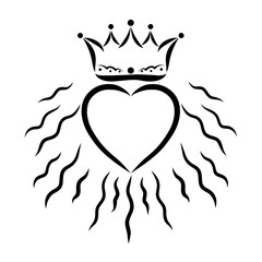 Radiant heart and a crown above it