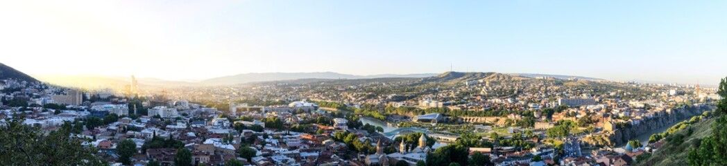 Panoramic view of Tbilisi city from the Narikala Fortress, old town and modern architecture. Tbilisi the capital of Georgia.