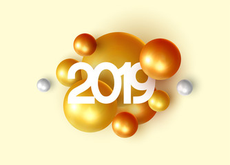 Happy New Year 2019 Abstract background with golden elements of 3d shape balls and spheres