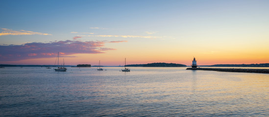Panorama sunrise of a harbor with sailboats and Spring Point Ledge Lighthouse Wall mural