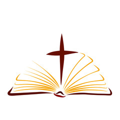 Gospel, open bible with cross between pages