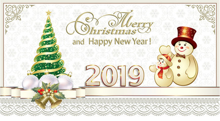 Happy New Year 2019. Greeting card with a Christmas tree and snowmen on with a snowflakes backdrop