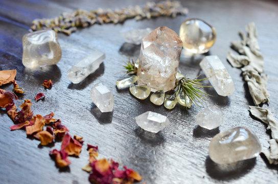 Meditation Grid Kit. Quartz Tower, Natural Citrine, Herkimer Diamonds, Quartz Points, Lavender, Sage, Rose. Healing Crystal Bundle Alter Kit, Wiccan Witchcraft, Crystal Healing Decor
