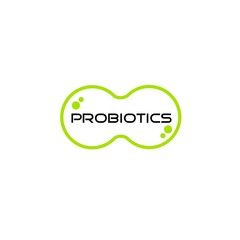 Probiotics logo. Bacteria logo. Concept of healthy nutrition ingredient for therapeutic purposes. Simple flat style trend modern logotype graphic design isolated