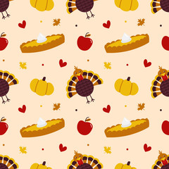 Thankgiving Day vector seamless pattern background with turkey bird, pumpkin, pumpkin pie, maple leaves and fresh apples.