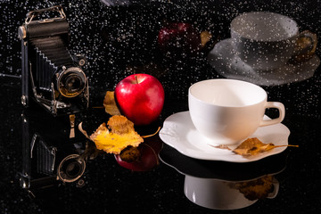 A vintage camera, a yellow leaf, a red apple, a white cup and their reflections on a black surface