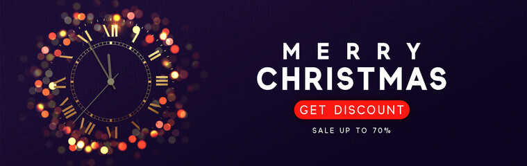 Horizontal banner with Merry Christmas and Happy New Years. Background with shining vintage golden clock, bright glowing gold lights bokeh.